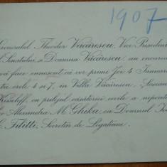 Gen. Vacarescu ; Invitatie la nunta nepoatei, A. Ghika cu Ioan C. Filitti, 1907 - Autograf