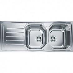 Chiuveta bucatarie inox dekor OLL 621 Franke, 2 cuve, picurator stanga, 1160x500mm, ventil 3 1/2