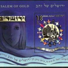 Israel 2008 - Jerusalem of Gold, colita cu folio aur