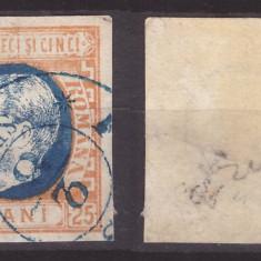 1869 - Carol I cu favoriti, 25b stampilat