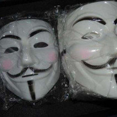 Masca V for Vendetta, Guy Fawkes, Anonymous, noi, Alb, Marime universala