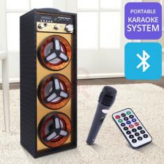 SISTEM KARAOKE BOXA ACTIVA CU 3 DIFUZOARE,MP3 PLAYER,BLUETOOTH,MICROFON INCLUS.