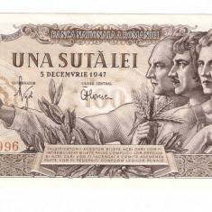 Romania 1947 - 100 lei aUNC - Bancnota romaneasca