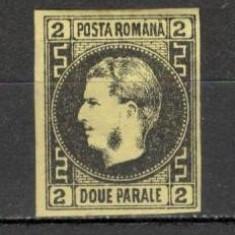 Romania.1867 Carol I cu favoriti hartie subtire 2 Parale  XR.4