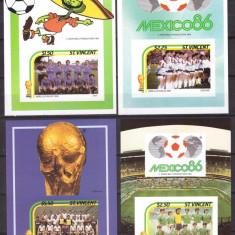 St Vincent 1986 - Fotbal, 4 blocuri neuzate