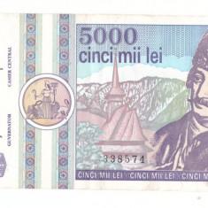 Romania 1992 martie - 5000 lei, VF - Bancnota romaneasca