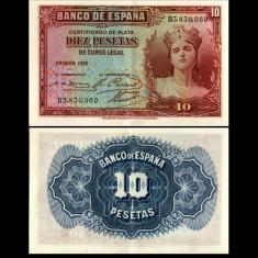 Spania 1935 - 10 pesetas UNC - bancnota europa