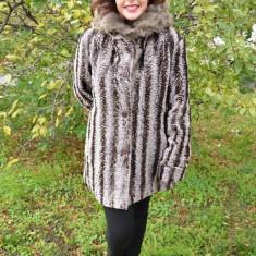 Jacheta eleganta de iarna, din blana sintetica de nuanta maro (Culoare: MARO, Marime: 56) - Jacheta dama