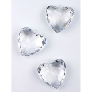 Pandantiv inima, transparent, 5buc/set