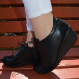 Pantof cu siret si talpa ortopedica, din piele naturala neagra (Culoare: NEGRU, Marime: 36)