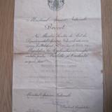 Brevet - Medalia Barbatie si Credinta cls a 3-a cu spade, WW2 dat in 1941 - Ordin/ Decoratie, Romania 1900 - 1950