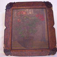 Vand tablou vechi,vaza cu flori,pictura deosebita !
