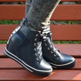 Pantof tineresc cu platforma interioara, nuanta bleumarin-alb (Culoare: BLEUMARIN, Marime: 36) - Pantofi barbat