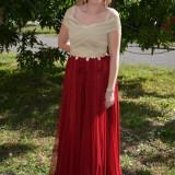 Rochie trendy de seara, nuanta auriu-marsala, model lung chic (Culoare: MARSALA, Marime: 44)