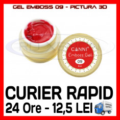 GEL EMBOSS GD COCO 09 - PICTURA 3D PT LAMPA UV, MANICHIURA GEL, GELURI COLOR, Gel colorat