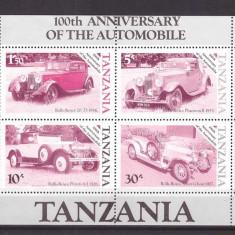 Tanzania 1986 - Masini de epoca, colita cu eroare de culoare