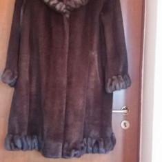 Haina Blana Sintetica, Maron cu Bordura, XL, Noua, Made in USA - haina de blana