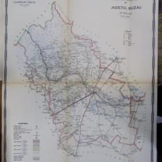 Harta cailor de comunicatie din Judetul Buzau 1916 - Harta Romaniei