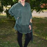 Bluza verde inchis, de marime universala cu croiala lejera (Culoare: VERDE INCHIS, Marime: 54)