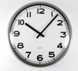 Ceas de perete silentios - rama din inox - geam din sticla – mare - 32 cm – Nou