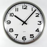 Ceas mare de perete cu rama din inox si geam din sticla – diametru 32 cm – Nou - Ceas de perete
