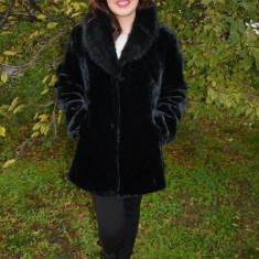 Jacheta moderna, din blana ecologica neagra (Culoare: NEGRU, Marime: 40) - Jacheta dama