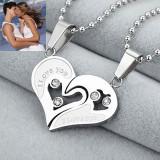 Pandantiv / Colier / Lantisor - SET  Cuplu  Inima  - I LOVE YOU - Argintiu
