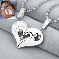 Pandantiv / Colier / Lantisor - Pentru Cuplu Inima - I LOVE YOU - Argintiu - Pandantiv fashion