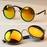 Ochelari De Soare Unisex - Retro Style / Rama Metalica - Aurii, Protectie UV 100%