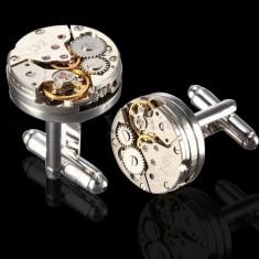 Butoni camasa model Mecanism piese argintii si aurii + cutie simpla cadou