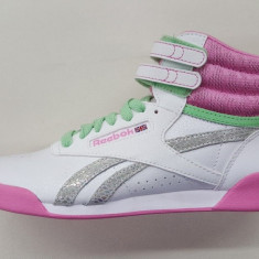 ADIDASI GHETE ORIGINALE 100% REEBOK FREESTYLE HI WHITE PINK GREEN nr 36 - Adidasi dama, Culoare: Din imagine