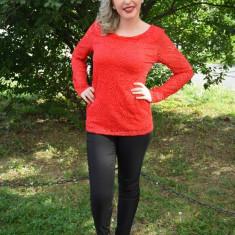 Bluza din dantela, nuanta de rosu, disponibila in marimi universale (Culoare: ROSU, Marime: 40) - Bluza dama
