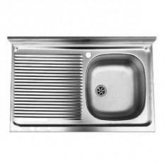 Chiuveta bucatarie inox satinat ZAN 711 Franke, pentru masca, picurator stanga, 800x500mm, bordura perete 60mm, ventil 2