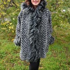 Jacheta trendy din lana, gri, masura mare, cu captuseala subtire (Culoare: GRI, Marime: 42) - Jacheta dama