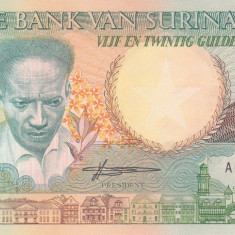 Bancnota Suriname 25 Gulden 1988 - P32b UNC - bancnota america