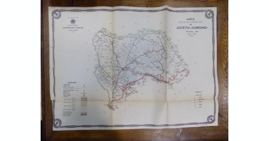 Harta Cailor De Comunicatie Din Judetul Dorohoi Anul 1915 Arhiva