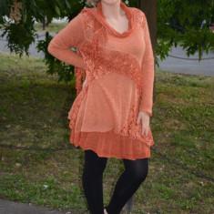 Rochie chic, nuanta de portocaliu, de marime universala (Culoare: PORTOCALIU, Marime: 46) - Rochie tricotate, Lunga