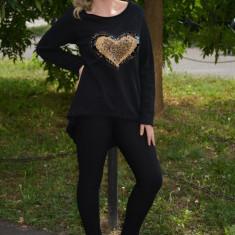 Bluza tinereasca, nuanta de negru, croi asimetric si paiete (Culoare: NEGRU, Marime: 42) - Bluza dama