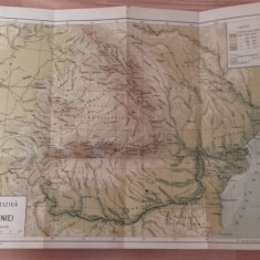 Harta fizica a Romaniei, scara 1 : 2400000, Mehedinti 1930 - Harta Romaniei