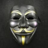 Masca Anonymous Negru,Guy Fawkes, Masca V for Vendetta , Rezistenta model negru, Marime universala, Din imagine