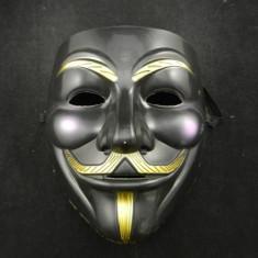 Masca Anonymous Negru,Guy Fawkes, Masca V for Vendetta , Rezistenta model negru, Marime universala