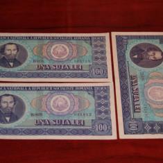 Romania - lot 3 bancnote 100 lei 1966 XF - AUNC - Bancnota romaneasca