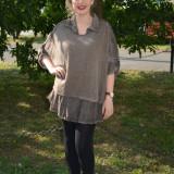 Bluza kaki, cu maneca lunga, cu croiala lejera, masura universala (Culoare: KAKI, Marime: 46) - Bluza dama