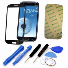 Sticla display fata pentru Samsung Galaxy S3 i9300 negru + adeziv si scule - Geam carcasa
