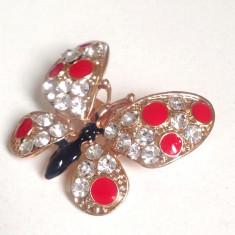 Brosa fluture MARTISOR- placata cu aur 18K si pietre Swarovski - Brosa placate cu aur