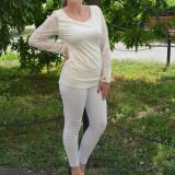 Bluza de ocazie, nuanta de alb, din dantela rafinata si eleganta (Culoare: ALB, Marime: 42)
