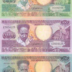 Bancnota Suriname 25, 100, 250 Gulden 1986/88 - P132-134 UNC ( set 3 bancnote ) - bancnota america, An: 1988
