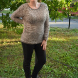 Bluza rafinata, bicolora, de culoare kaki-alb de buna calitate (Culoare: KAKI, Marime: 44) - Bluza dama