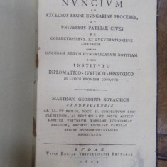 Nuncium ad excelsior regni, Buda 1804 - Carte veche