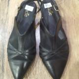 Superbi balerini -sandale noi piele+dantela  foarte comozi Sz. 36.5